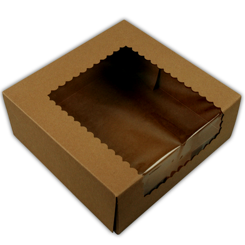 Customised Eco Friendly Brown Kraft Cake Boxes With Window